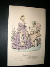 Le Follet C1840's Hand Coloured Fashion Print 854